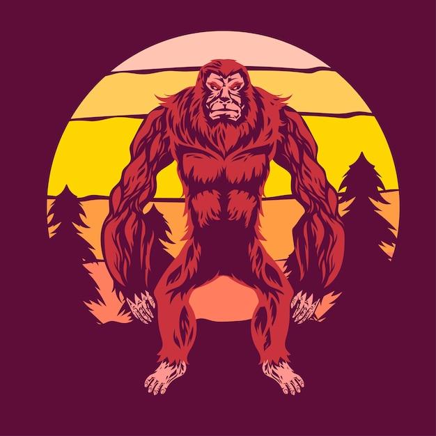 Bigfoot geht zwischen kiefern und sonnenuntergang Premium Vektoren