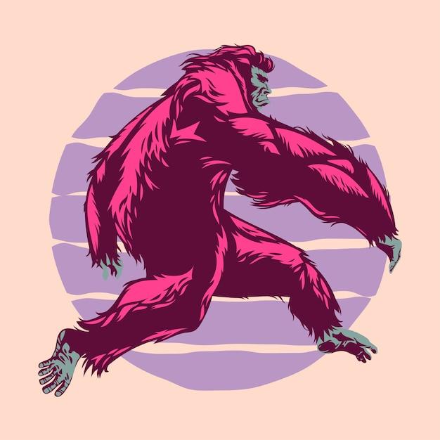 Bigfoot run mit sonnenuntergang Premium Vektoren