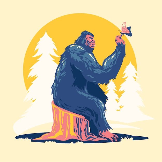 Bigfoot spielt mit schmetterlingen Premium Vektoren