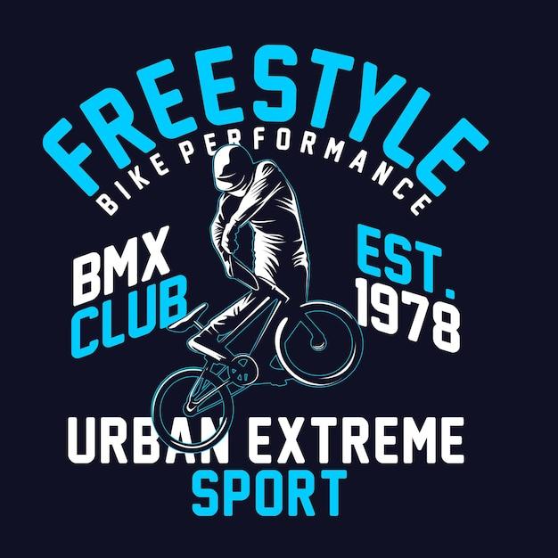 Bike freestyle t hirt grafik Premium Vektoren