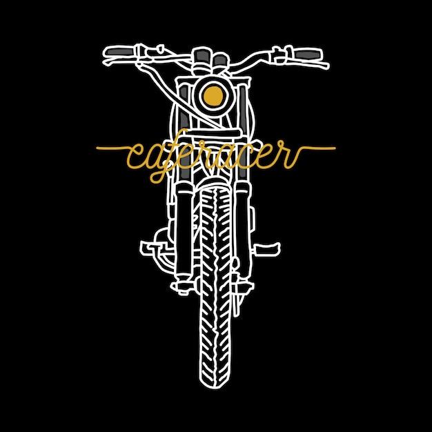 Biker fahrer motorrad linie grafik illustration kunst t-shirt design Premium Vektoren