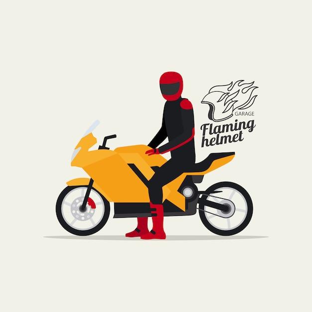 Biker mit motorrad und logo Premium Vektoren