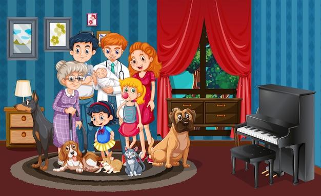 Bild der familie im haus Premium Vektoren