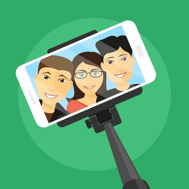 Bild des handys mit drei freunden auf bildschirm und selfie-stick, stilillustration Premium Vektoren