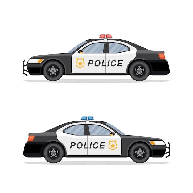 Bild des polizeiautos auf weißem hintergrund. . Premium Vektoren