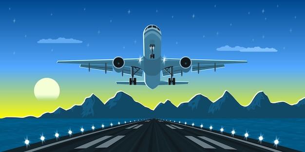 Bild einer landung oder eines startflugzeugs mit bergen und großstadtschattenbild auf hintergrund, stilillustration Premium Vektoren