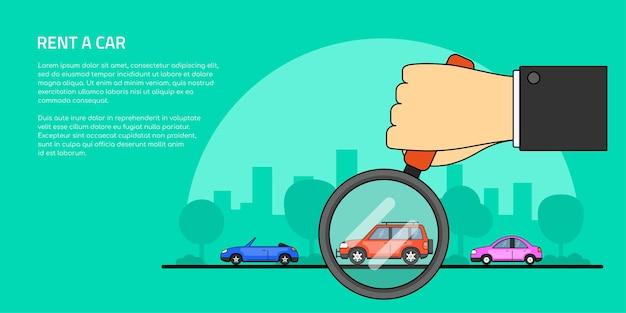 Bild einer menschlichen hand, die lupe und anzahl der autos hält, autoauswahl, miete, kaufen sie ein auto-konzept-banner, Premium Vektoren