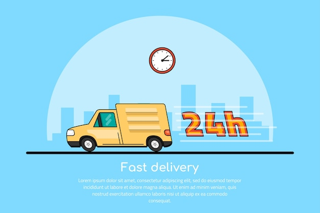 Bild eines sich bewegenden autos mit uhrensymbol und großstadt-sillhouette auf hintergrund, lieferservicekonzept, Premium Vektoren