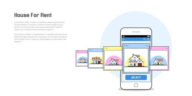 Bild eines smartphones mit haussymbolen, haus zu vermieten, hausauswahlkonzept, flache artillustration Premium Vektoren