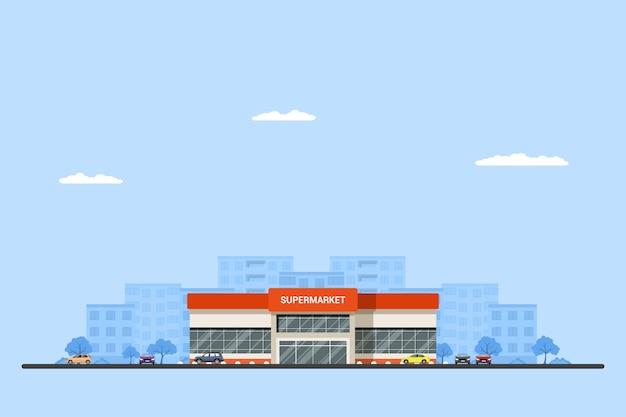 Bild eines supermarktgebäudes mit autos und großstadt-sillhouette auf hintergrund. städtische landschaft. . Premium Vektoren