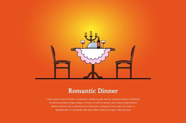 Bild eines tisches mit weingläsern, kerzen, teller mit essen und zwei stühlen. romantisches dinner-konzept. Premium Vektoren