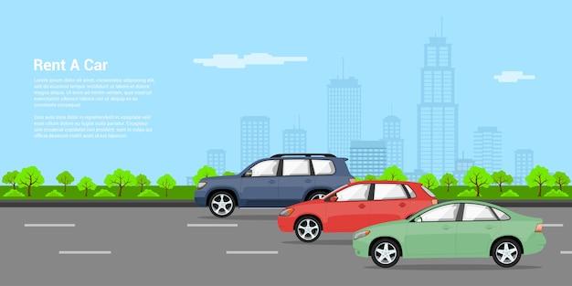 Bild von drei autos auf dem gebrüll mit großstadt-sillhouette auf hintergrund, stilillustration, mieten ein autokonzept Premium Vektoren