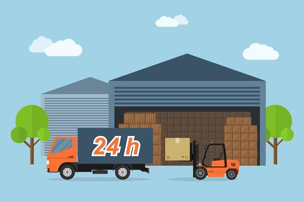 Bild von lieferwagen und gabelstapler-ladekasten, lieferservicekonzept, stilillustration Premium Vektoren