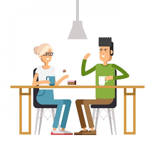 Bild von zwei mädchen im café Premium Vektoren