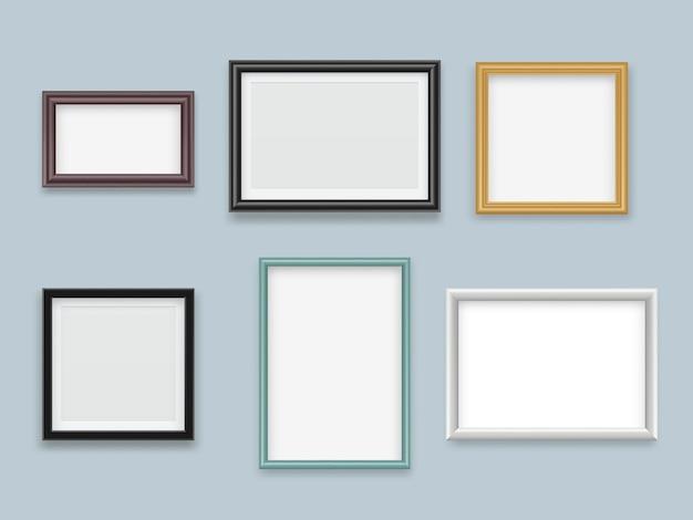 Bilderrahmen realistisch. moderne hölzerne leere malerei- oder fotografierahmen-vektorsammlung Premium Vektoren