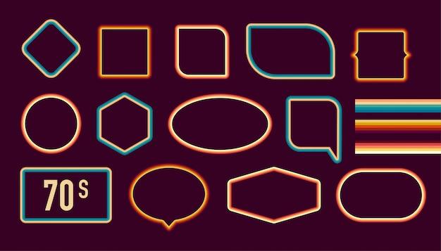 Bilderrahmen-set im stil der 1970er jahre. trendige 1970er jahre, altmodische künstlerische dekorative grenzen. illustration. Premium Vektoren