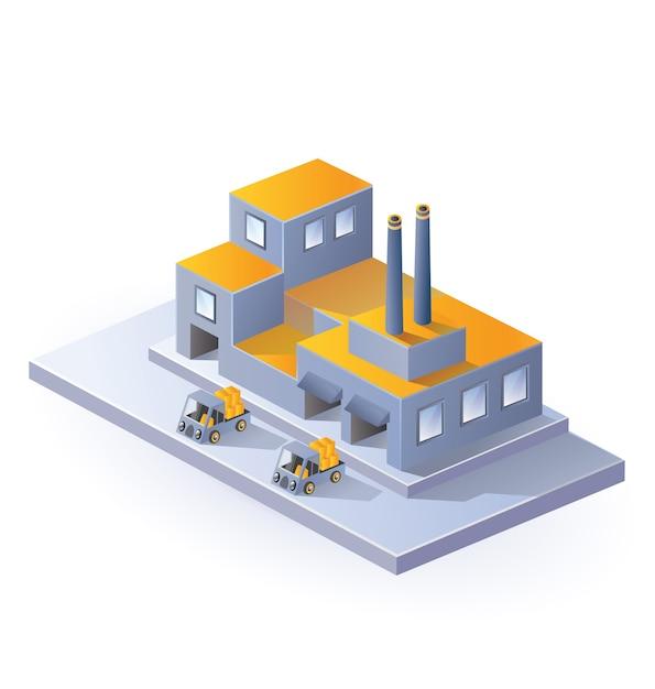 Bildfabrik in der isometrischen projektion auf einen weißen hintergrund Premium Vektoren