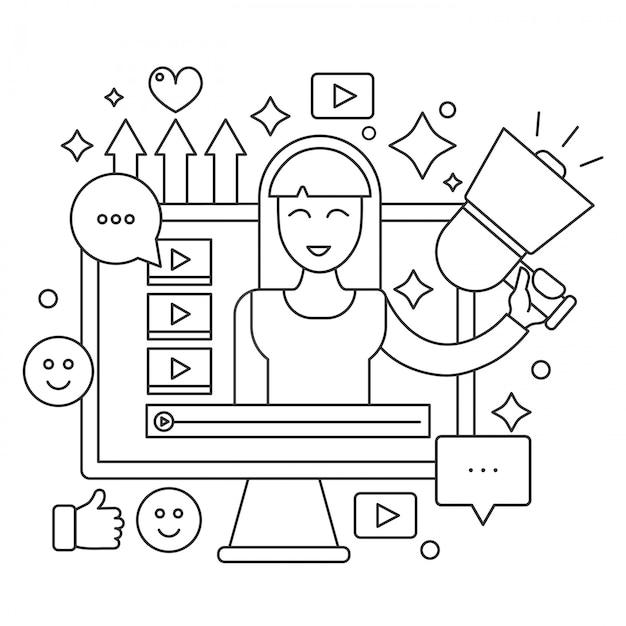 Bildschirm mit weiblicher frauenbloggerillustration. Premium Vektoren