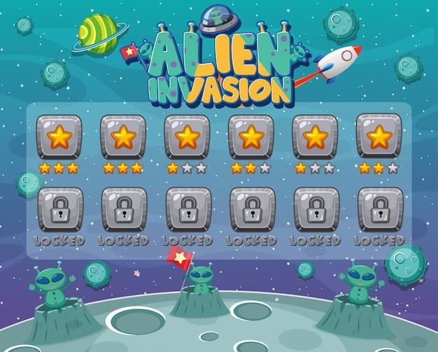 Bildschirmvorlage für computerspiel mit alien-invasion Premium Vektoren