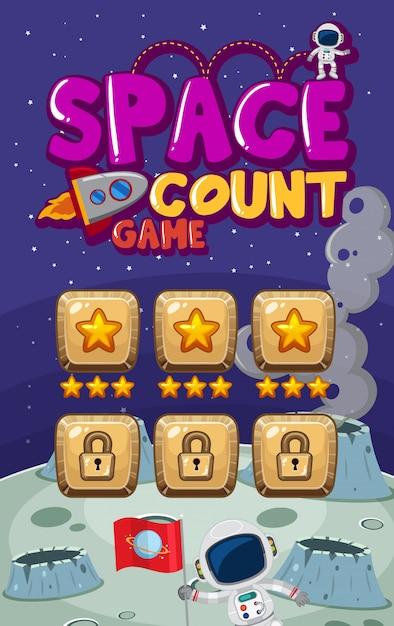Bildschirmvorlage für computerspiel mit astronauten im weltraum Premium Vektoren