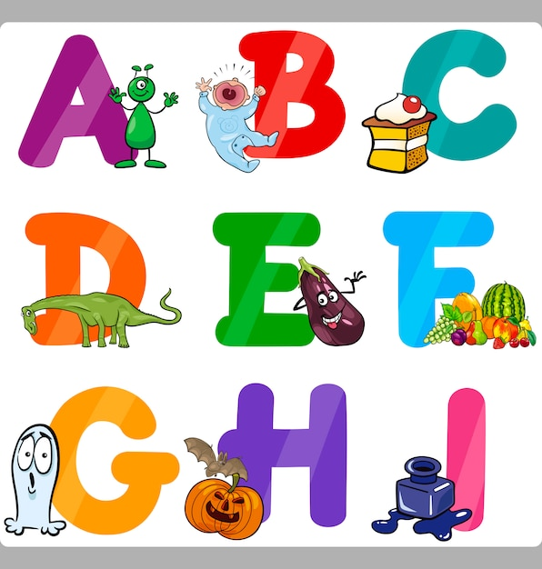 bildung cartoon alphabet buchstaben für kinder  premium