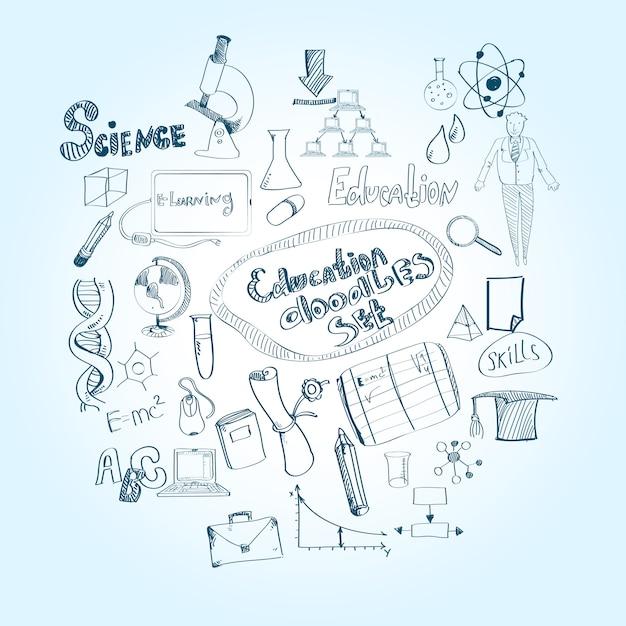 Bildung-doodle-set Premium Vektoren
