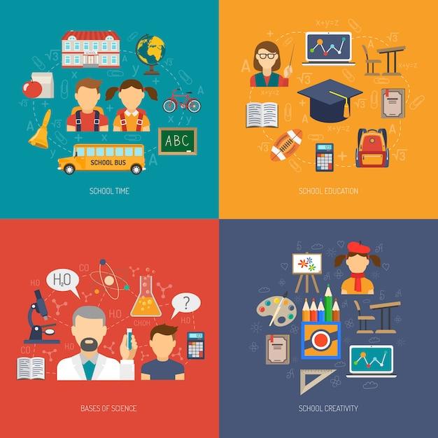 Bildung flaches set Kostenlosen Vektoren