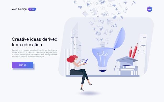 Bildung für website und landing page template.online-bildung, schulungen und kurse, lernen, Premium Vektoren