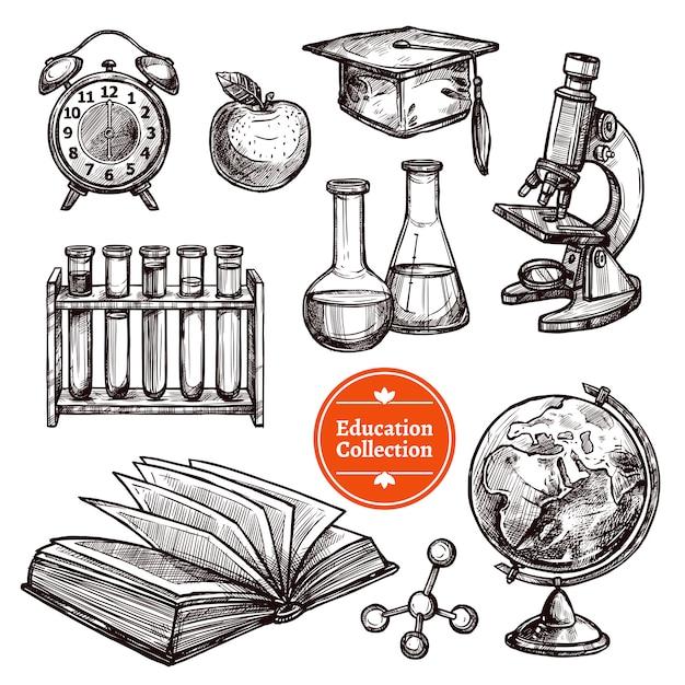 Bildung hand gezeichnete skizze set Kostenlosen Vektoren