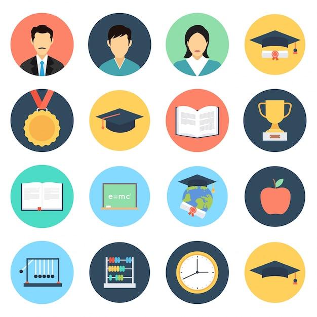 Bildung icon-set Kostenlosen Vektoren