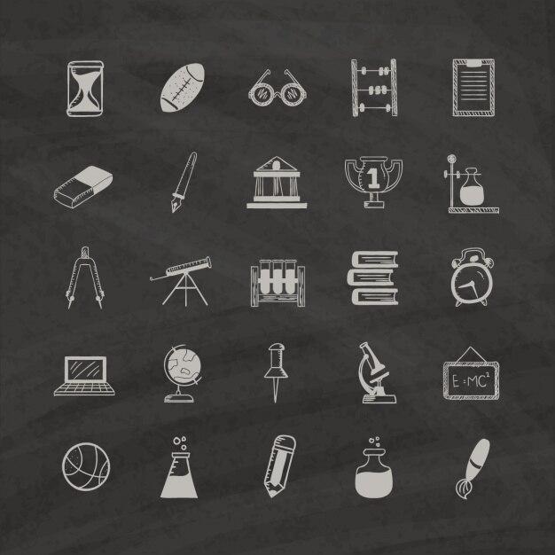 Bildung Icons auf einem schwarzen Hintergrund Kostenlose Vektoren
