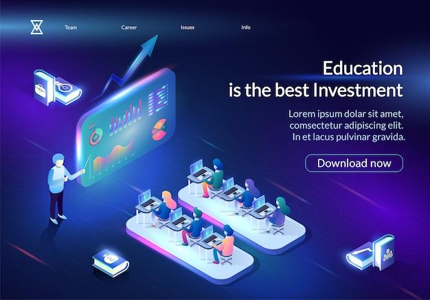 Bildung ist das beste horizontale banner für investitionen Premium Vektoren