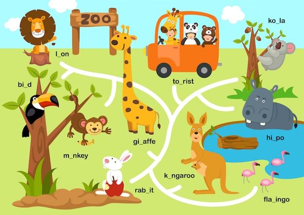 Bildung labyrinth spiel illustration Premium Vektoren