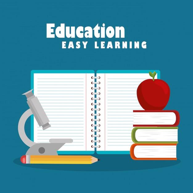 Bildung leichtes lernen stellen icons Kostenlosen Vektoren