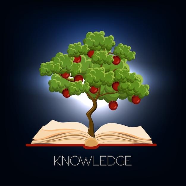 Bildung, lernkonzept mit dem apfelbaum, der vom offenen buch wächst Premium Vektoren