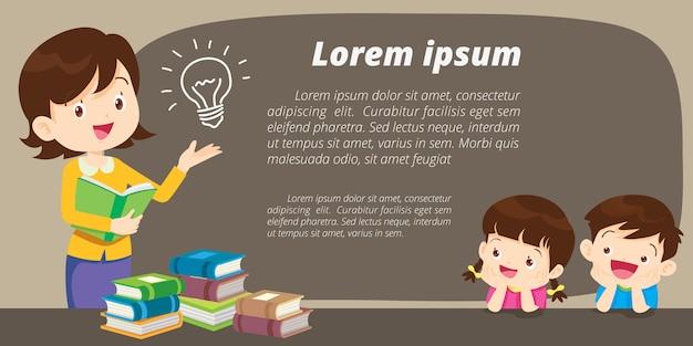 Bildung rollen oben fahnenstandschablone, der lernende lehrer und student, schulaktivitäten Premium Vektoren
