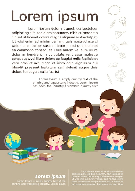 Bildung und lernen, familie und kinder lesen ein buch. textvorlage. Premium Vektoren