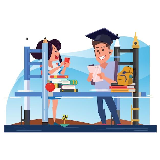 Bildungsbrücke mit student. lernkonzept - vektor-illustration Premium Vektoren