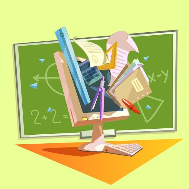 Bildungskonzept mit der schule, die zubehör im retrostil studiert Kostenlosen Vektoren