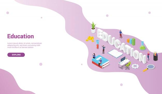 Bildungskonzept mit großem worttext für websiteschablone oder landungshomepagefahne mit isometrischer flacher art Premium Vektoren