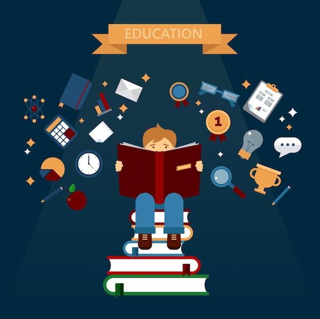 Bildungskonzept mit lesebüchern Premium Vektoren