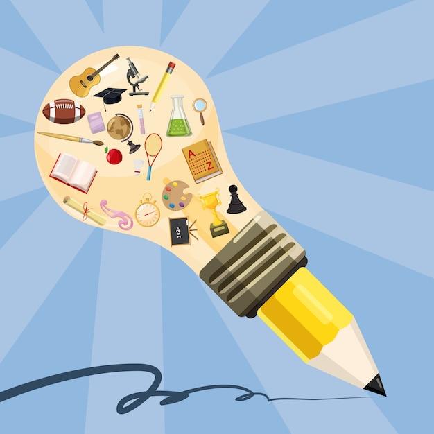 Bildungskonzeptlampenbleistift, karikaturart Premium Vektoren