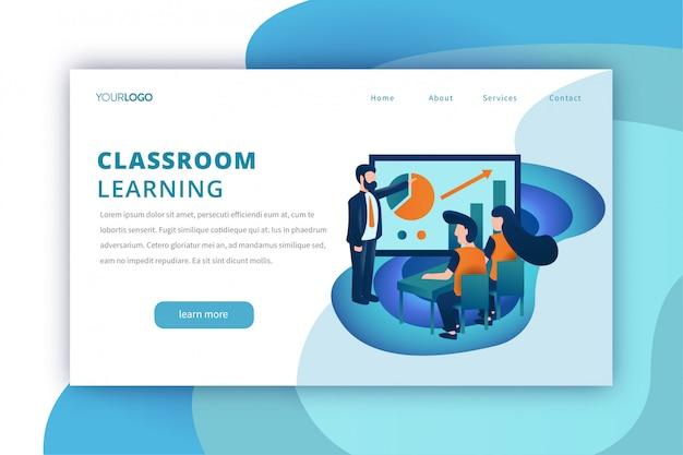 Bildungslandungsseitenschablone mit dem klassenzimmer, das thema lernt Premium Vektoren