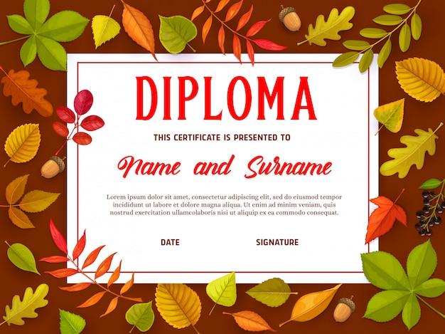 Bildungsnachweis mit herbstlaub, diplom Premium Vektoren