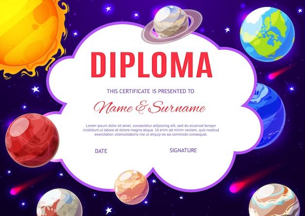 Bildungsschuldiplom mit planeten des sonnensystems Premium Vektoren