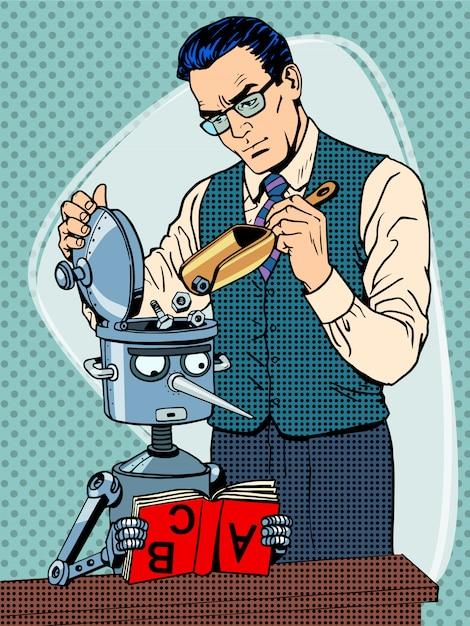 Bildungswissenschaftler lehrer roboter student Premium Vektoren