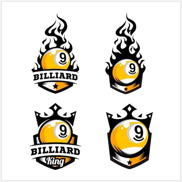 Billard 9 ball feuer und könig abzeichen logo Premium Vektoren