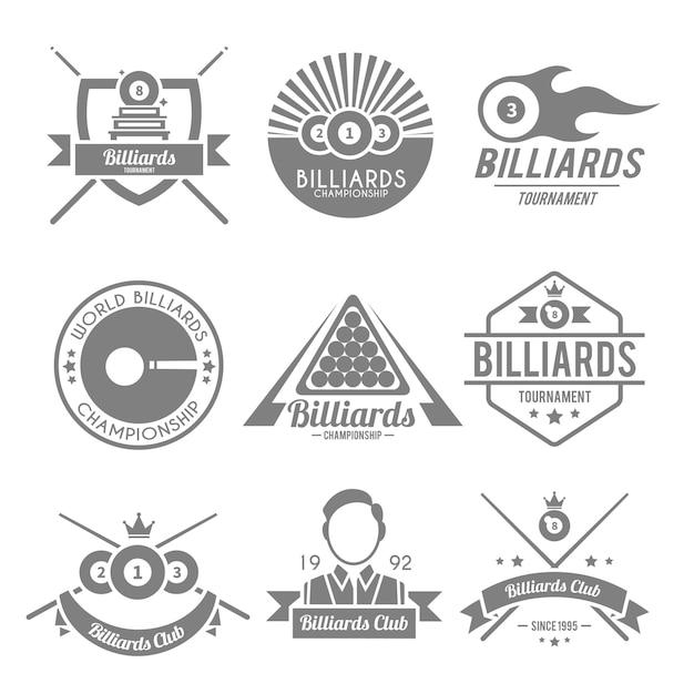 Billard-logo gesetzt Premium Vektoren