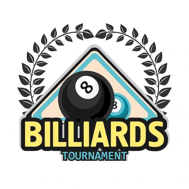 Billard pool und snookersportikone Premium Vektoren