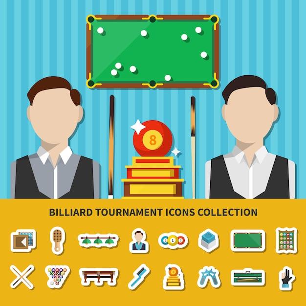 Billard turnier icons sammlung Kostenlosen Vektoren